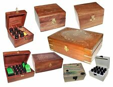 AROMATHERAPY CARVED WOOD ESSENTIAL OILS CONTAINER BOX - SELECT SIZE