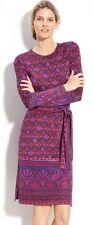 $425 TORY BURCH AUDRA Purple Print Silk Jersey Sheath Career Dress - S Small