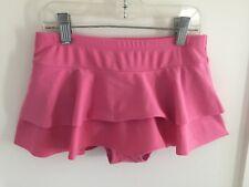 Hanna Andersson girl's swim skirt bikini bottom pink tiered size 140 9 10 11 EUC