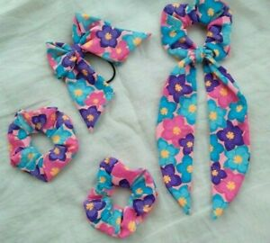 4 Pcs Women Floral Long tail scrunchy , Bow band and Two scrunchies for hair
