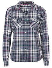 Ladies High Performance Slim Fit Long Sleeved Checked Shirt UK Sizes 6-16