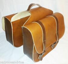 bi-sacs sacoche simili cuir marron velo vintage