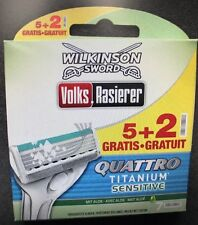 14x Wilkinson Sword Quattro Titanium Sensitive Rasierklingen NEU