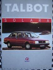 brochure TALBOT SOLARA SX GLS GL LS  1980 / français couleurs