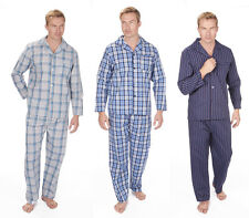 Mens Poly Cotton Woven Stripe/Check Pyjamas Pjs Night Wear Sizes M L XL 2XL