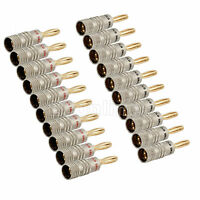 20 X Top 24K Gold Plated Speaker Cable Wire Connector Banana Plug 4mm