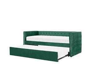 Tagesbett ausziehbar Samtstoff grün Lattenrost 90 x 200 cm GASSIN