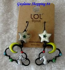 BO567F Boucles d/'Oreilles Traversantes Fine Chaîne Etoile Ouverte Métal Arg