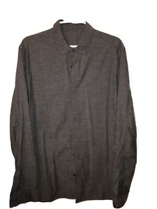 lululemon mens Long Sleeve Button Up shirt Grey large, With Pockets