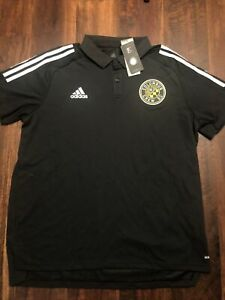 New Adidas Mens Columbus Crew Soccer Short Sleeve Polo Shirt Size XL Black