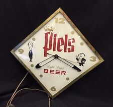 "Vintage Rare Piels Light Beer Lager Clock New York Bar Pub Man Cave 13""x13"""