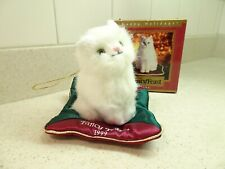 1999 Fancy Feast Collectible Ornament White Cat on Pillow – Purina Friskies, Box