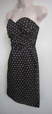 H&M Rockabilly Style Pinup Strapless Black w/ Beige Polka Dot Mini Dress Size 4