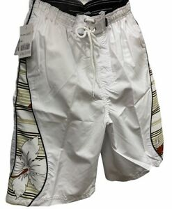 Mens*BNWT*Elasticated Waist With Pull Cord*long Swim shorts *WHITE*size*X LARGE