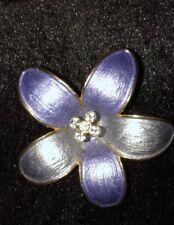 Lovely Quality Blue/ Purple Enamel & Diamante Flower Shaped Brooch