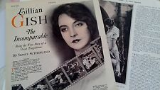 JULY 9, 1927 MAGAZINE PAGE #610- LILLIAN GISH, THE INCOMPARABLE- 2PGS