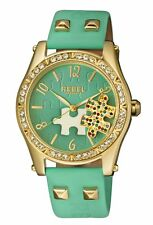 Rebel Women's RB111-9121 Gravesend Crystals Puzzel-piece Dial Teal Leather Watch