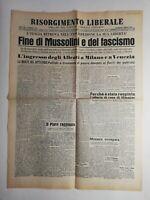 N189 La Une Du Journal risorgimento libérale 30 avril 1945 fine di mussolini