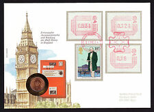 1984 Rowland Hill stamp on coin cover with machine cancels Great Britain GB QEII