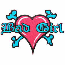 Bad Girl Lady Rider Love Heart Skull Crossbones Rockabilly Iron-On Patches #B129