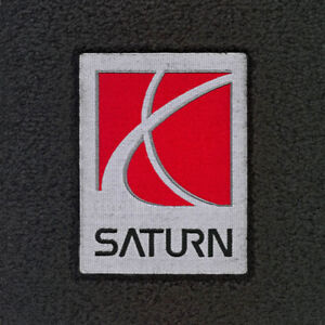 NEW! Black Floor Mats For Saturn With Embroidered Logo, 2pc Front Set, Pair
