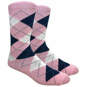 Men's Argyle Dress Crew Socks For Suit Mid Calf - Cute Funky Colorful