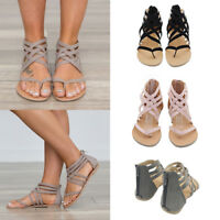 Womens Ladies Sandals Strappy Faux Leather Gladiator Thong T Strap Flat Sandals