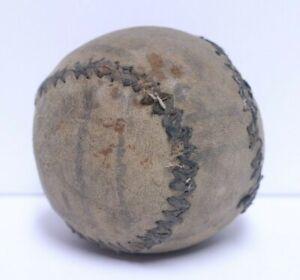 EARLY ANTIQUE TURN CENTURY HAND WOVEN SOFT LEATHER LEMON PEEL STYLE BASEBALL #1