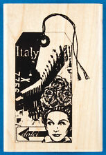 Italy Travel Rubber Stamp - Luggage Tag for Vacation in Europe - Inkadinkado