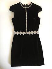 Sass & Bide Dress Black Velvet Diamanté Cut Out Fact Or Fiction 38 8 6 Rare