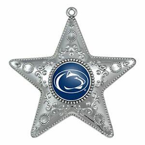 """PENN STATE NITTANY LIONS Ornament Silver Star Christmas X-Mas Tree 4.5 """" NIB"""