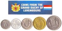5 LUXEMBOURGISH COINS. DIFFERENT EUROPEAN COINS FOREIGN CURRENCY, VALUABLE MONEY
