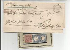 Preussen V / BISCHOFSTEIN K2 auf Brief 1869 + je K2 auf 2 Kabinett-Briefstücken