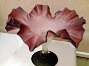 Amethyst color ruffled edge decorative pedestal piece VINTAGE