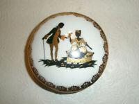 Vintage Limoges France Powder or Trinket Box Silhouette Gold Trim
