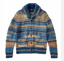 $1200 RRL Ralph Lauren Vintage Hand Knit Indigo Cotton Linen Cardigan-MEN- 2XL