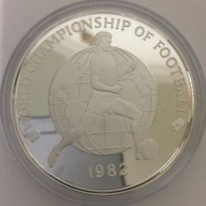 Jamaica 1982 World Soccer 4.04oz 25 Dollars Silver Coin,Proof