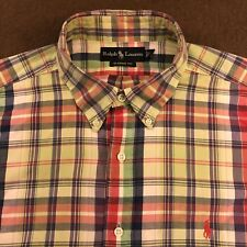 Mens Polo RALPH LAUREN Green Red Blue Plaid Madras Shirt XL