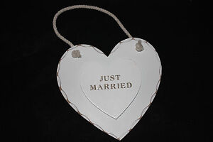 JUST MARRIED HEART ,WHIE WOOD ,WEDDING