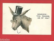 DONKEY WEARING EYEGLASSES TOP HAT COMIC SOMEHOW THIS REMINDS ME OF YOU  POSTCARD
