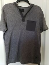 New Marc Ecko Cut & Sew Hooded Short Sleeve Pocket T-Shirt Hoodie-Medium-Gray
