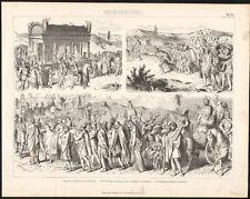 1875 Gravure Antiquité funérailles d'Alexandre le Grand Aurélien empereur romain