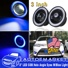 3Inch 76mm LED COB Fog Light Lamp Projector Lens Bulb DRL Angel Eyes Halo Kit US