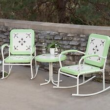 Green Metal 3 Piece Retro Patio Rocking Chair Seating Set Outdoor Home Furniture