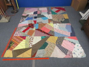 "Crazy Quilt Blanket Top Unfinished 86"" x 65"""