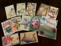 Lot of 13  Vintage ~AIRBRUSHED~Embossed ~Antique~EASTER~Postcards-a868