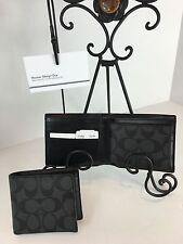 COACH F74993 Signature Compact ID Wallet Men's Coated Canvas Charcoal Black NWT