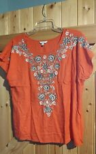 """Lovely Monsoon  Top In  Orange With Embroidered Detail Size S Chest 38"""" 12 - 14"""