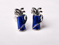 Blue Golf Bag Top Designer Men Cufflinks Cool Gift Flip Out Jewelry Box