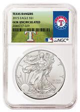 2015 1oz. Silver Eagle NGC Gem Unc MLB Baseball Texas Rangers Label SKU36026